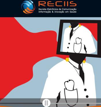 Capa da revista Reciis, com a logo da publicação na barra superior e imagens que remetem a um monitor e a médicos