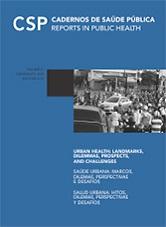 Capa da revista Cadernos de Saúde Pública, com fundo em azul