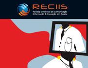 Capa da revista REciis com logo da publicação na parte superior e tela com imagem que remete a um médico