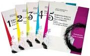 Fotos de cinco capas, dos livros da série editada pelo Cebes Cidadania para a Saúde: Temas fundamentais para a Reforma Sanitária