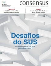Capa da revista Consensus, com desenhos de setas, também escrito