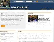 Página principal do site da pesquisa Região e Redes, com notícias e entrevistas relacionados ao  SUS