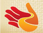 Logomarca do projeto, exibindo mão com as cores vermelho, laranja e amarelo