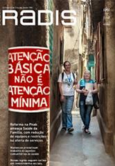 Capa da revista, destacando duas agentes comunitárias de saúde sorrindo e andando por corredor em comunidade
