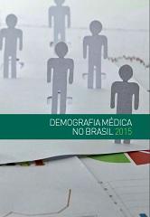 """Capa da publicação com o título escrito """"Demografia médica no Brasil 2015"""", em um barra verde. Na capa, de fundo cinza, há alguns bonecos que simulam pessoas e papéis com gráficos"""