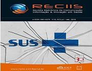 Capa da Reciis, com a logo da publicação e, em destaque, ao centro, a logo do SUS, em azul e no fundo cinza, com traços que remetem a vidro trincado