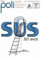"""Capa da publicação, com logo da revista Poli e a logo do SUS, com uma pessoa subindo uma escada até o topo do SUS, pintando a letra """"U"""". Abaixo de """"SUS"""" está escrito """"30 anos"""""""