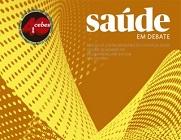 """Capa da revista """"Saúde em debate"""", em tons de amarelo e com selo comemorativo de 40 anos do Cebes"""