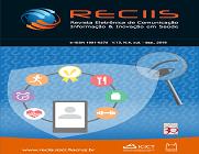 Imagens sobrepostas da capa da Reciis, em fundo azul e com uma ilustração composta por lupa, celular e ícones como de aplicativos