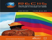 Capa da revista Reciis, com bandeira do arco-íris ao fundo e uma pessoa de costas