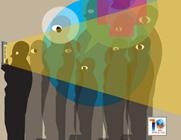 Capa da publicação com sombra de pessoas em uma fila olhando para a esquerda e com luzes coloridas