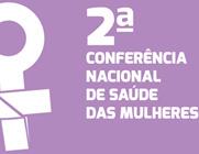 Logo da  2ª Conferência Nacional da Saúde das Mulheres, com fundo lilás e símbolo do feminino