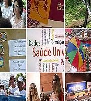 Montagem de fotos referentes à 15ª Conferência Nacional de Saúde, com imagem de pessoas em atividades da programação e espontâneas que aconteceram durante o encontro
