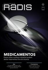 Capa da publicação com comprimido em anel, o nome da publicação Radis em destaque e da matéria de capa sobre medicamentos