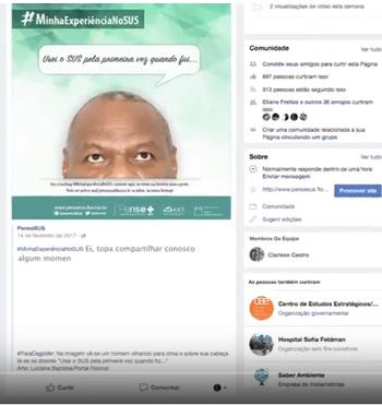 """Imagem do flyer da campanha """"Minha experiência no SUS"""", com imagem parcial de rosto de uma pessoa e postagens do Facebook"""
