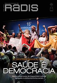 """Capa da revista Radis, com o nome da publicação e a chamada em destaque """"15ª Conferência Nacional de Saúde - Saúde e democracia"""""""