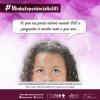 """Imagem da campanha, com fundo em tons de rosa e parte do rosto de uma menina negra e conteúdos da campanha """"MinhaExperiênciaNoSUS"""""""